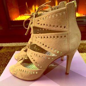 XAppeal Lace Up Open Toe Heels